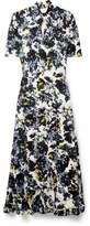 Erdem Ruffled Floral-print Crepe De Chine Midi Dress - Purple