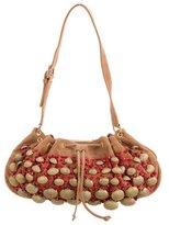 Oscar de la Renta Embellished Suede Shoulder Bag