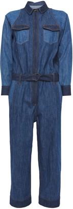 Brunello Cucinelli Cropped Belted Bead-embellished Denim Jumpsuit