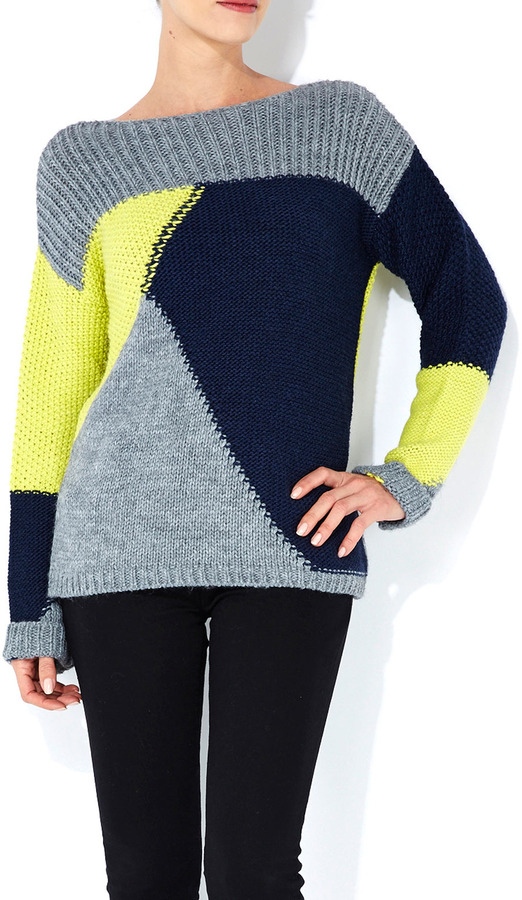 Wallis Navy Blue Colourblock Chunky Jumper