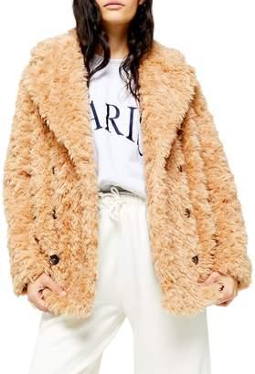 Topshop Harry Faux Fur Teddy Coat