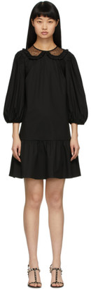 RED Valentino Black Popeline Tiered Dress
