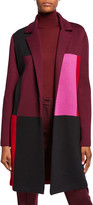 St. John Patchwork Colorblock Open-Front Twill Jacket