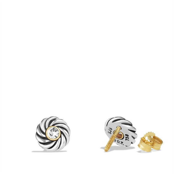 David Yurman Cable Kids® April Birthstone Earrings with Diamonds and Gold