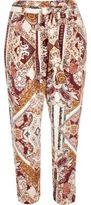 River Island Womens Pink paisley print tapered pants