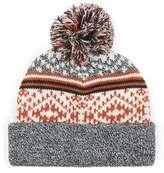Topman Black, Grey And Orange Intarsia Bobble Beanie Hat