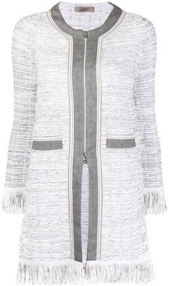 D-Exterior Frayed Tweed Jacket