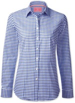 Charles Tyrwhitt Blue gingham peached Oxford check semi-fitted shirt