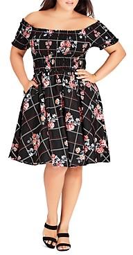 City Chic Plus Off-the-Shoulder Cotton Floral Print Dress