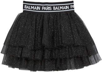 Balmain Girl's Glitter Layered Tulle Skirt, Size 12-16