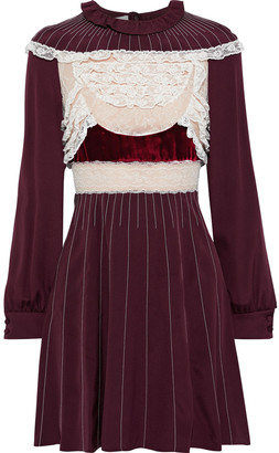 Valentino Velvet-trimmed Chantilly Lace-paneled Silk-jersey Mini Dress
