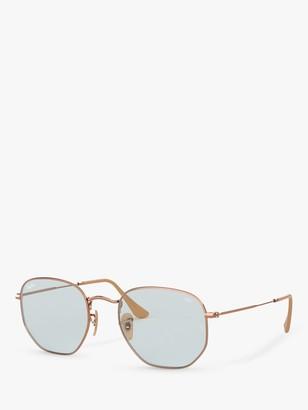 Ray-Ban RB3548N Hexgonal Sunglasses, Copper/Grey Blue