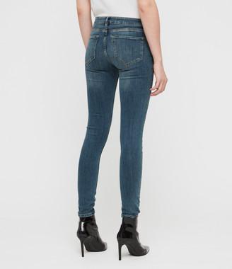 AllSaints Mast Skinny Low-Rise Jeans, Washed Indigo
