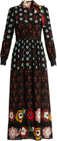 RED Valentino Floral-print lace-insert silk maxi dress