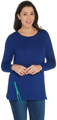 Quacker Factory French Terry Tunic with Contrast Zipper Detail