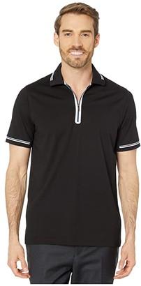 Bugatchi Gastone Short Sleeve Knit 1/2 Zip Polo (Black) Men's Clothing