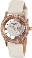 Akribos XXIV Women's AK811WTR Quartz Movement Watch with Rose Gold and See Thru Heart Dial Featuring a Cream Satin Strap