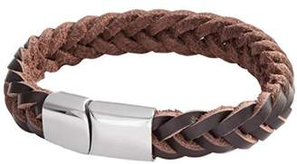 Lower East Leather Bracelet Braided Black with Magnetic Fastener Brown