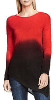 Vince Camuto Two By Crew Neck Dip Dye Asymmertic Tunic Sweater
