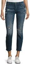 DL1961 Premium Denim Davis Distressed Skinny Boyfriend Cropped Jeans, Ravage