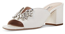 Miu Miu Women's Crystal-Embellished Snake-Embossed Block Heel Sandals