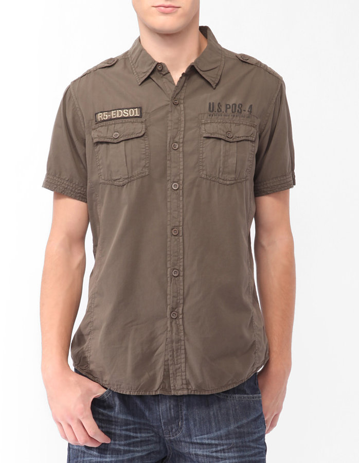Forever 21 21 men Military Style Shirt