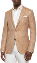 Ermenegildo Zegna Herringbone Two-Button Wool Jacket, Tan