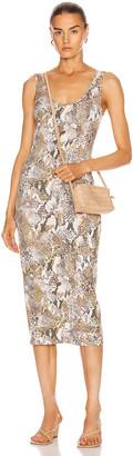 Enza Costa Viscose Tank Midi Dress in Gold Boa | FWRD