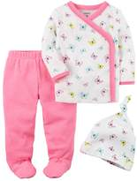 Carter's Baby Girl Butterfly Kimono Top, Footed Pants & Hat Set