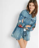 Express petite rose embroidery denim boyfriend jacket