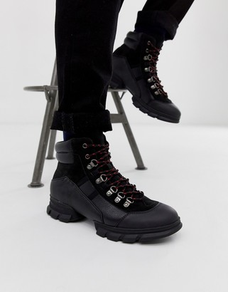 Asos DESIGN lace up hiker boots in black
