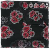 Alexander McQueen rose and skull print scarf - women - Silk - One Size