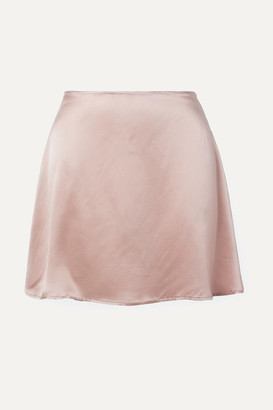 Reformation Benson Silk-satin Mini Skirt - Blush