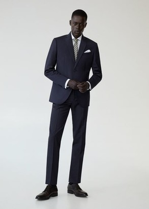 MANGO MAN - Slim fit virgin wool suit pants dark navy - 30 - Men