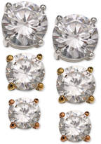 Giani Bernini 3-Pc. Set Cubic Zirconia Stud Earrings in Sterling Silver, 18k Gold-Plated and Rose Gold-Plated Sterling Silver, Only at Macy's