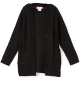 Pink Angel Black Cable-Knit Open Cardigan - Girls