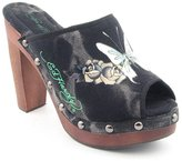 Ed Hardy Cest Prive Womens Size 5 Pumps Peep Toe Textile Clogs Shoes
