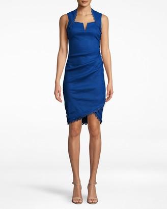 Nicole Miller Stretch Linen Sweetheart Dress