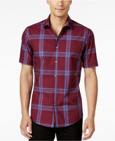 Alfani Men's Big and Tall Slim Fit Short-Sleeve Plaid Shirt, Only at Macy's