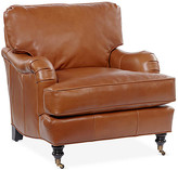 One Kings Lane Brooke Club Chair - Saddle Leather - frame, antiqued black; upholstery, saddle; casters, brass