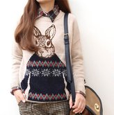 Glield Women's Pullover Ugly Christmas Sweater with Digital Printed Rabbit CMY01