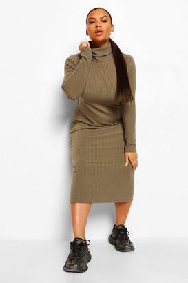 boohoo Plus Soft Rib Roll Neck Midi Dress