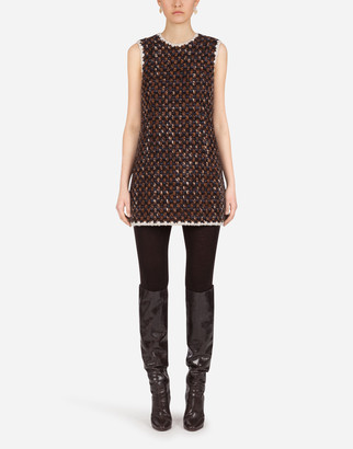 Dolce & Gabbana Short Tweed Dress With Contrasting Edges