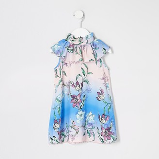 River Island Mini girls Pink floral frill swing dress