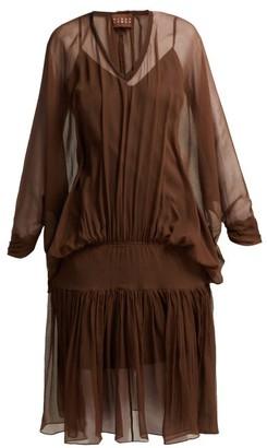 ALBUS LUMEN Carino Gathered Silk-chiffon Dress - Brown