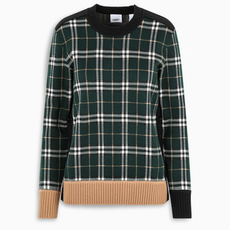 Burberry Green check sweater with button detail