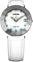Jowissa Women's J5.201.XL Pyramid Stainless Steel Mother-Of-Pearl Dial White Leather Band Watch