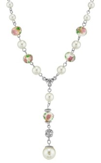 """2028 Silver Tone Faux Pearl Pink Flower Beaded Y Necklace 16"""" Adjustable"""
