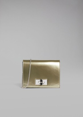 Giorgio Armani Borgonuovo 11 Metallised Patent Leather Mini Crossbody Bag