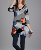 Lily Gray Geometric V-Neck Tunic - Plus Too